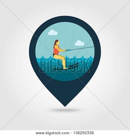Water skiing vector pin map icon. Beach Map pointer. Summer Map markers. Summertime. Vacation ride water sport eps 10