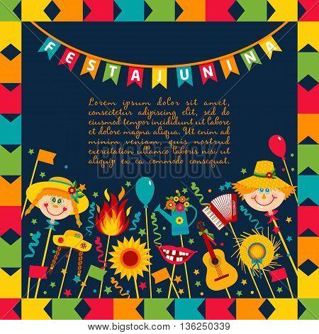 Festa Junina Village Festival In Brasil. Banner Layout.