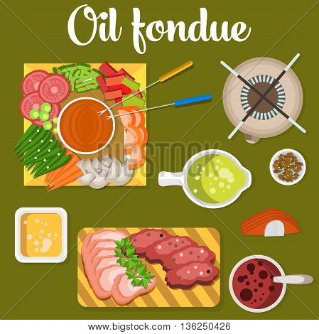 Oil fondue with meat and vegetables like carrot and tomato, pea, mushroom on plates. Broth or soup in bowl. Can be used for menu or restaurant design