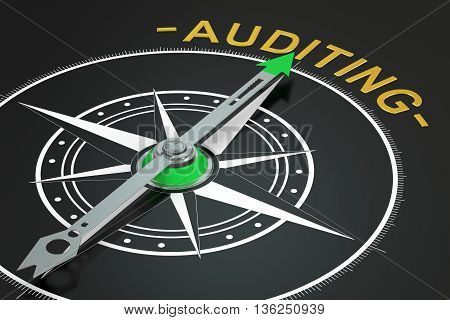 Auditing compass concept 3D rendering on black background