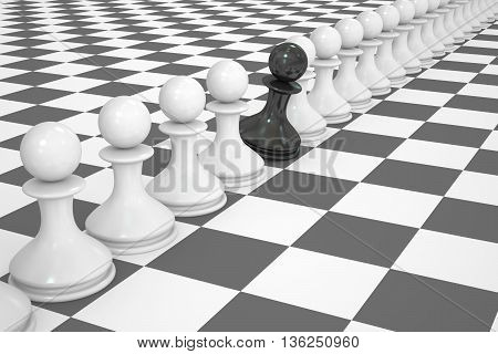chess strategy and leader concept. 3D rendering