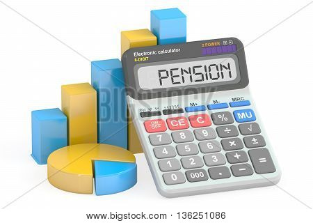 Pension concept 3D rendering isolated on white background