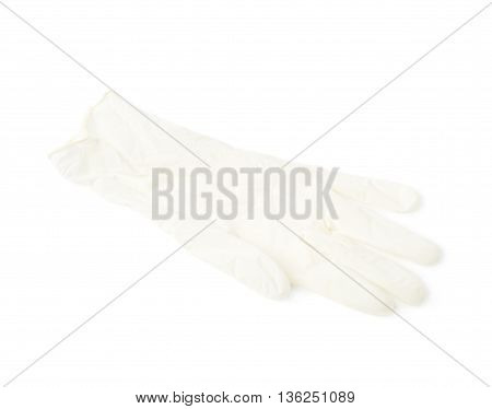 Medical white rubber glove isolated over the white background