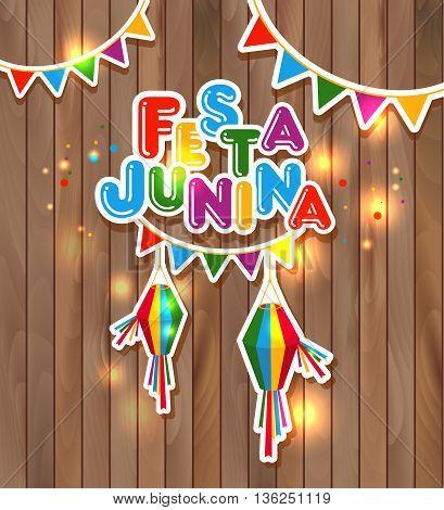 Festa Junina vector illustration on wooden texture