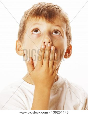 young pretty boy wondering face isolated on white background gesture close up
