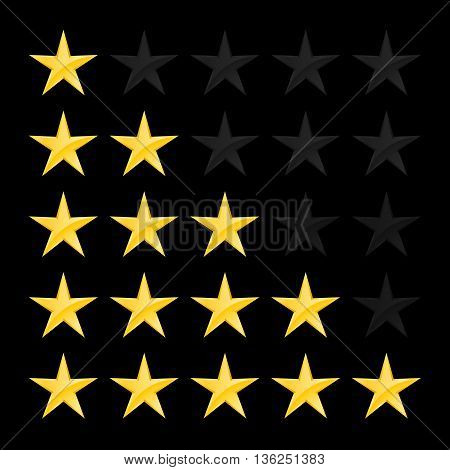 Simple Stars Rating. Gold Shapes on Black Background