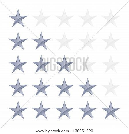 Simple Stars Rating. Silver Shapes with Shadow on White Background