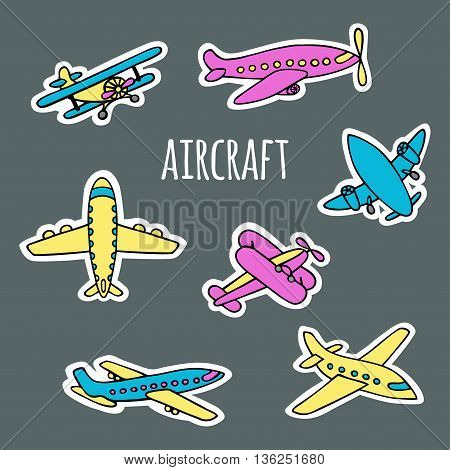 A set of air transport on the grey background. The planes hand-drawn style sketch. Aircraft on white silhouettes. Vector illustration of effect paper-cut.