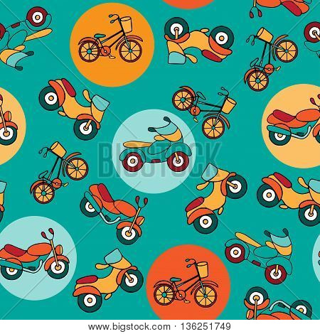 Seamless pattern with circles and motorcycles. Mopeds and motorbikes hand-drawn in a cartoon style. Urban transport on turquoise background with colorful circles.