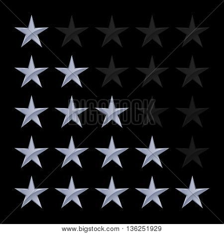 Simple Stars Rating. Silver Shapes with Shadow on Black Background