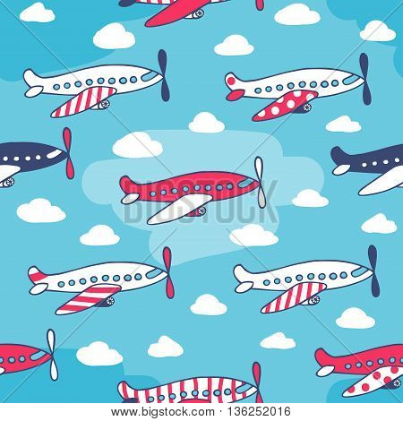 Seamless pattern from cute aircraft funny color. Vector illustration drawn by hand in cartoon style.