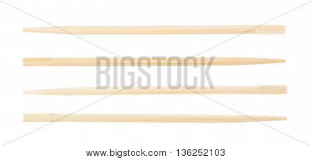 Wooden sushi chopsticks isolated over the white background, set of four different foreshortenings