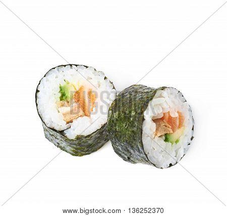 Composition of two aljaska hosomaki sushi isolated over the white background
