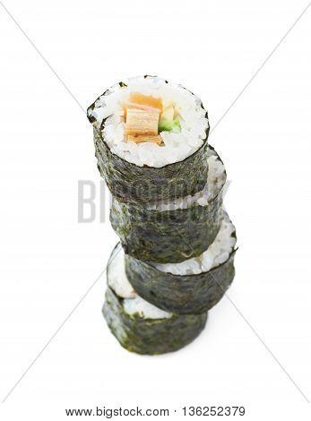 Pile of multiple aljaska hosomaki sushi isolated over the white background