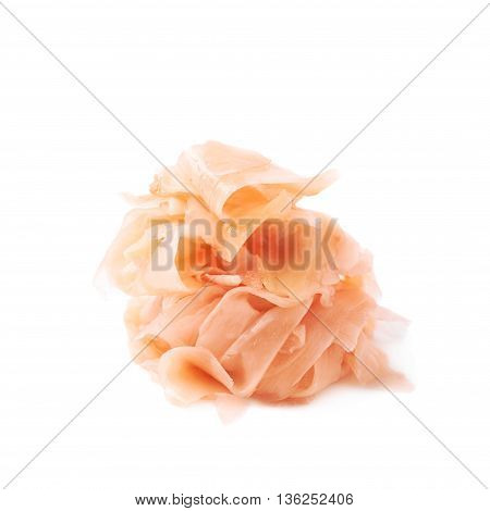 Pile of marinated ginger slices isolated over the white background