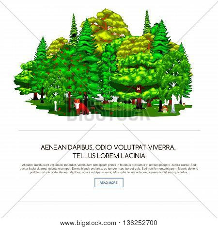 Nature landscape design elements isolated with green trees, grass bush and animals.