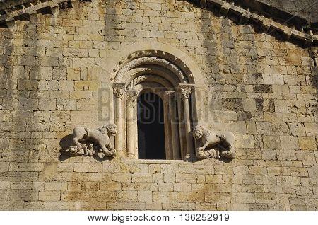 Facade of the Romanesque church of Sant Pere de Besalu in the Garrotxa, Girona, Spain