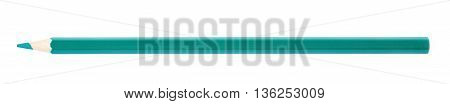 Single green drawing pencil isolated over the white background