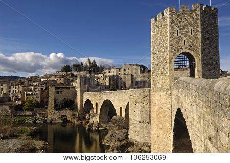 Medieval bridge of the village of Besalu in La Garrotxa, Girona, Spain