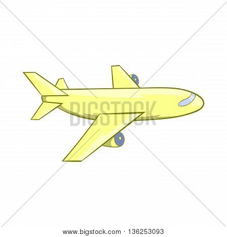 Passenger airplane icon in cartoon style on a white background