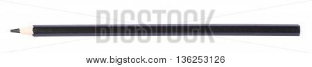 Single black drawing pencil isolated over the white background