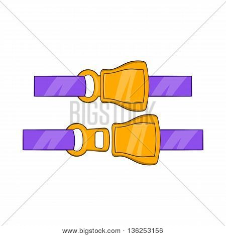 Aviation seat belt icon in cartoon style on a white background