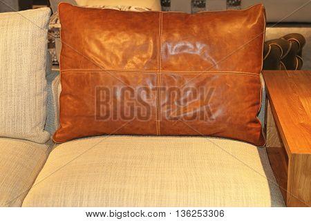 Big Brown Real Leather Pillow at Sofa