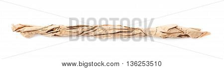 Line of crumbled paper isolated over the white background