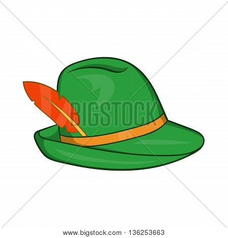 Green hat with a feather icon in cartoon style on a white background