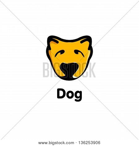 Isolated orange color dog on the white background. Cute animal muzzle vector logo. Cartoon character head logotype. Children toy vector illustration