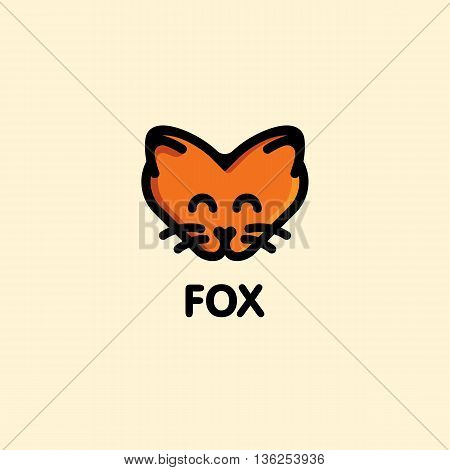 Isolated orange color fox on the pink background. Cute animal muzzle vector logo. Cartoon character head logotype. Children toy vector illustration