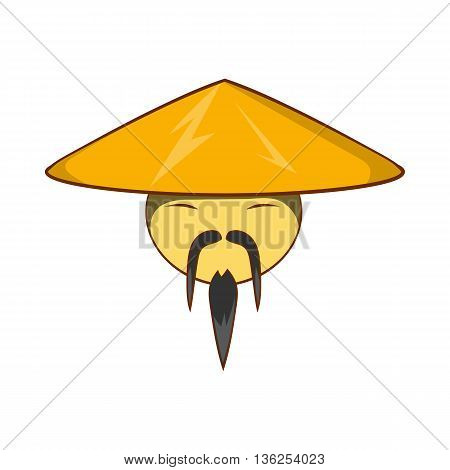 Man in chinese conical hat icon in cartoon style on a white background