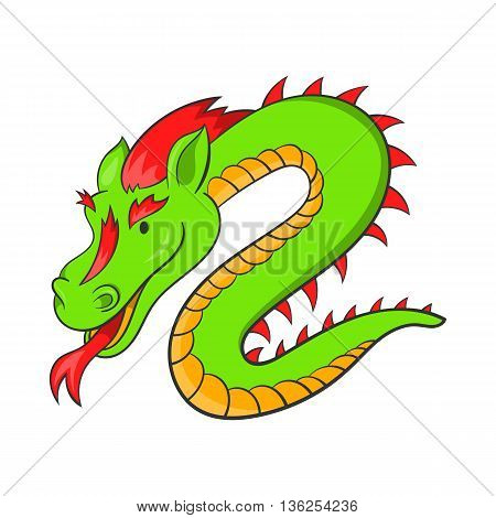 Green chinese dragon icon in cartoon style on a white background
