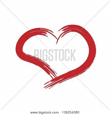 Silhouette of a red heart drawn by hand torn brush. Abstract isolated on white background.