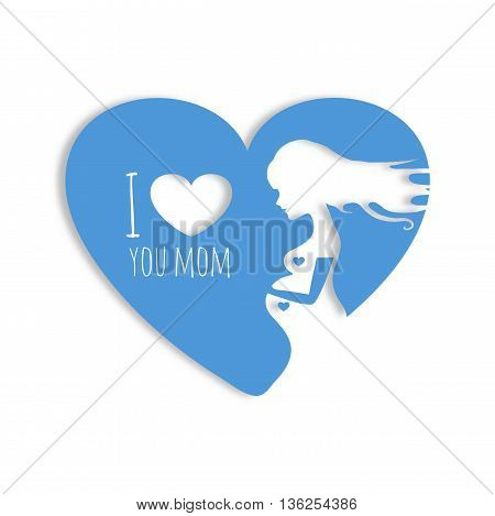 Vector blue colorful illustration of beautiful pregnant woman in heart on white background. Card of Happy Mothers Day