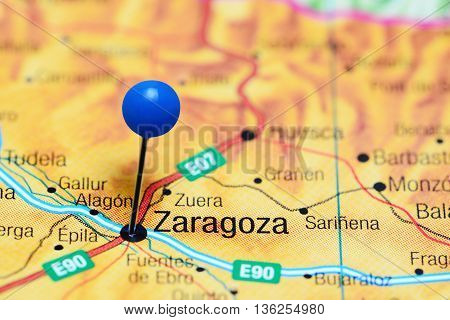 Zaragoza pinned on a map of Spain