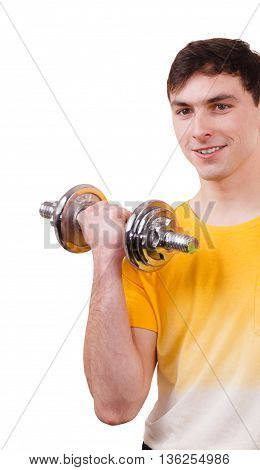 Man exercising with dumbbells. Muscular strong guy lifting heavy weights. Bodybuilding. Isolated on white
