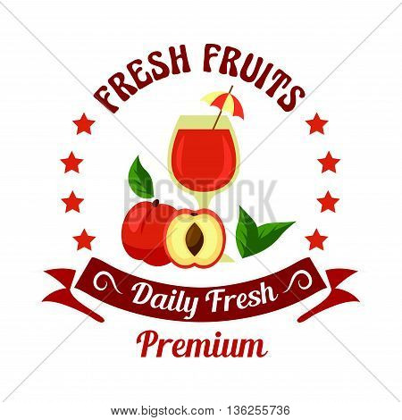 Farm fresh peach fruits icon with glass of juice, decorated by cocktail umbrella and green leaves. Selected premium fruits badge framed by stars and retro ribbon banner for organic shop or farm market design usage