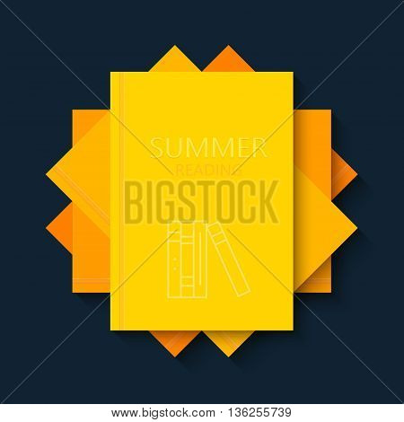 vector modern concept sun and books. Summer reading creative background. Eps10