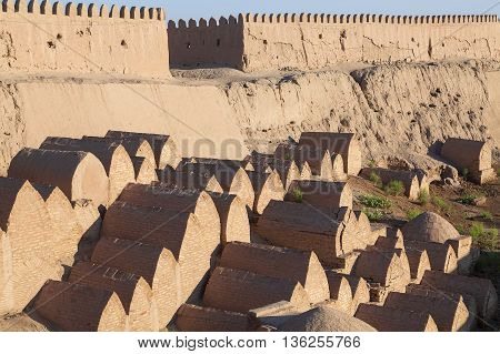 Tombs by the city walls of Khiva, Uzbekistan.