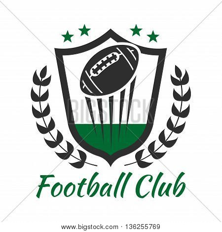 Football sport heraldic symbol of medieval shield with flying ball decorated by laurel wreath and stars. American football sports club or team badge design usage