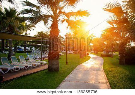 Beautiful sunset at a beach resort in hotel