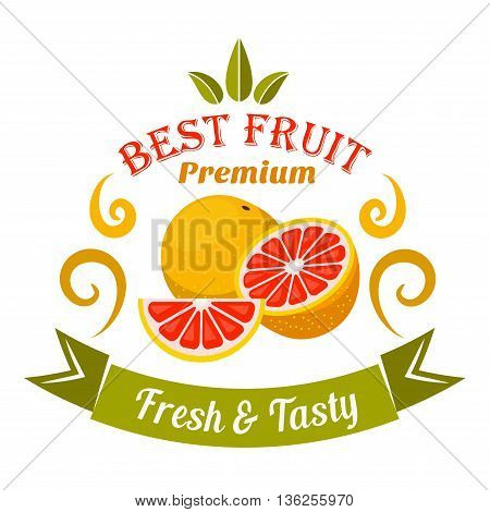 Wholesome ripe grapefruit fruits badge framed by orange swirls and curved ribbon banner with caption Fresh and Tasty. Retro stylized fruits icon for organic shop symbol and food packaging design usage