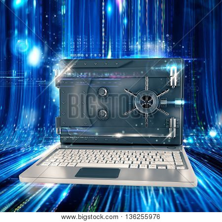Computer with screen as a safe closed 3d rendering
