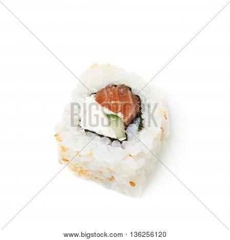 Philadelphia maki sushi isolated over the white background