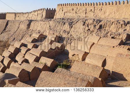 Old tombs near the city walls of Khiva, Uzbekistan.