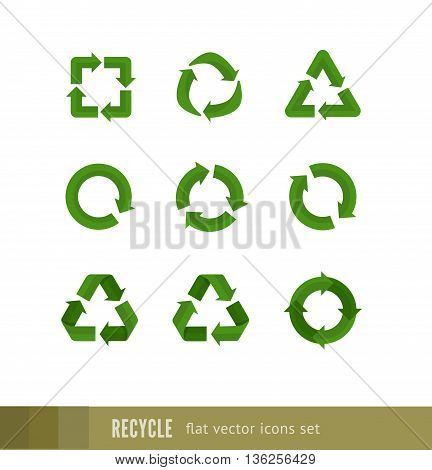 Set of flat green vector signs of recycling, arrow icons isolated on white. Recycle icons, reuse logo, reduce symbol. Ecological symbols of recycle, environment icons collection.