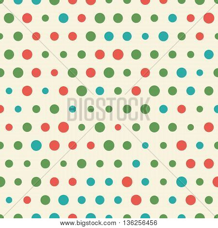 Random vector pattern of big and small colorful polka dots. Polka dots. Seamless background for scrapbooking, textile and web