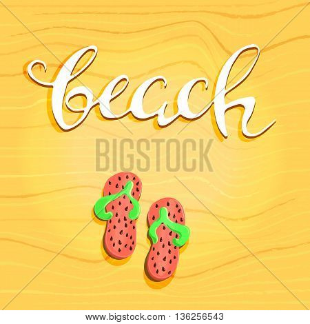 Beach letterin hand drawn and step-ins. Abstract decorative diagonal crumpled wavy striped textured background. Yellow colors. Vector.eps10