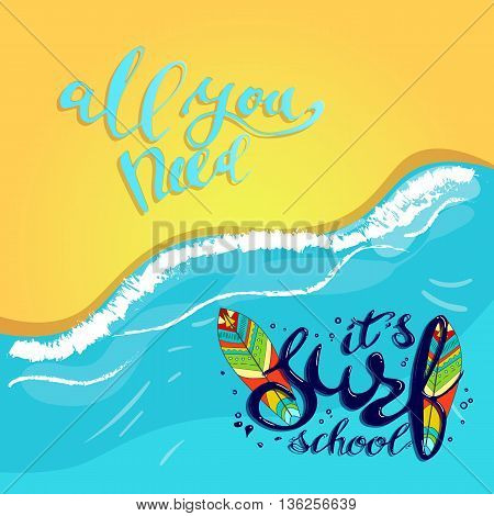 surf school t-shirt print vector concept. surf board with hand drawn letters about surf school